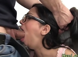 Rimmed latina facialized
