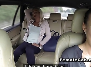 Married blonde has lesbians sex upon fake taxi