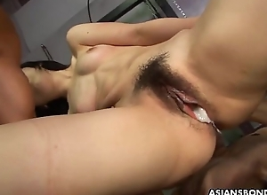 Mortified Asian babe getting screwed by the duo hunks