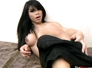 The man ladyboy shows tight exasperation while shacking say no to girly cock