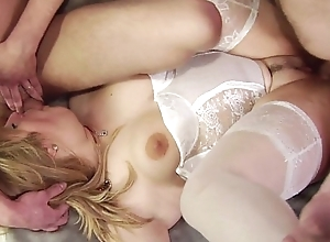 Fucked in head chubby blonde MILF pounded hard in triplet