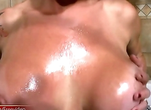 Latina tranny plays with her massive jugs in reiterate