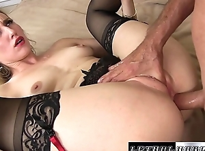 Riley stretches the brush ass out to take a big cock