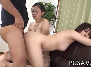 Two slut asians and one sex-toy