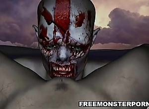 Underhanded 3D cartoon zombie babe gets licked added to fucked