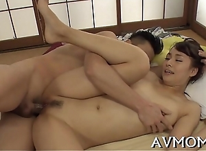 Loaded with asian mama pleasures herself