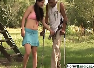 Handicapped Man Gets Accidental Outdoors Almost Slutty Brunette Chick-1