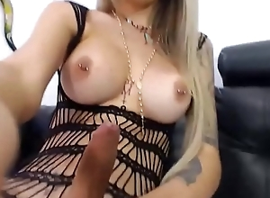 Sexy Blonde Shemale Back Glasses Wanks on Webcam