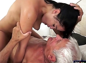 Dolly Diore sucks retire from  a grandpas cock increased by sits on his face