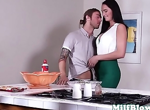 Classy longhair housewife throats young cock