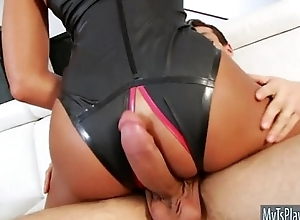 Telling boobs tranny gets anal gangbanged bareback on the couch