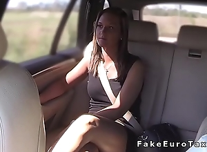Babe sits on fake cab drivers flannel in public
