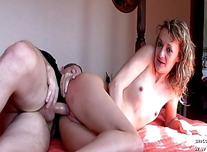 Second-rate french clip with a small titted blonde fucking hard on the bed for cam