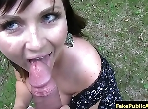Bigtitted amateur pulled into the open air and sucks